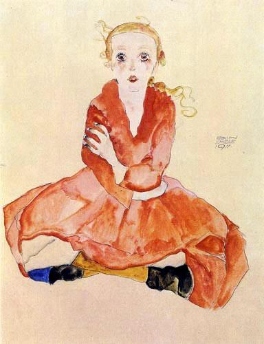 Egon Schiele - Sitzendes Mädchen
