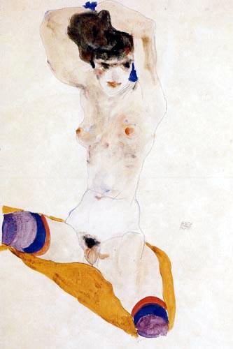 Egon Schiele - Sitzendes nacktes Mädchen