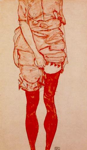 Egon Schiele - Mujer en ropa roja