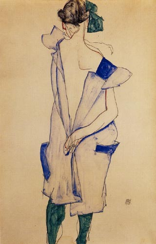 Egon Schiele - A girl in blue dress