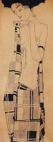 Egon Schiele - Stehendes Mädchen in kariertem Tuch