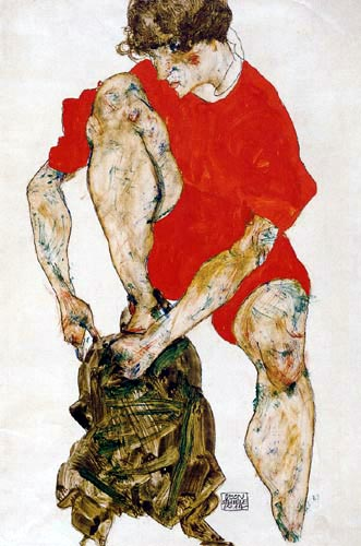 Egon Schiele - A woman in a red jacket