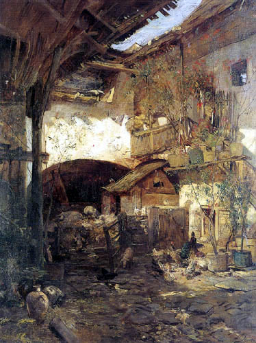 Emil Jakob Schindler - Yard of a farmhouse in Weißenkirchen