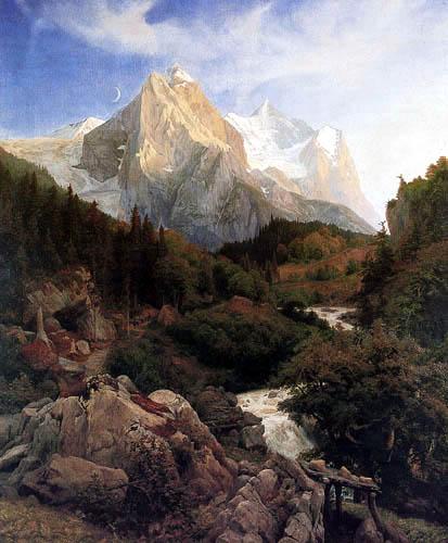 Johann Wilhelm Schirmer - Rosenlaui Glacier and Wetterhorn, Switzerland