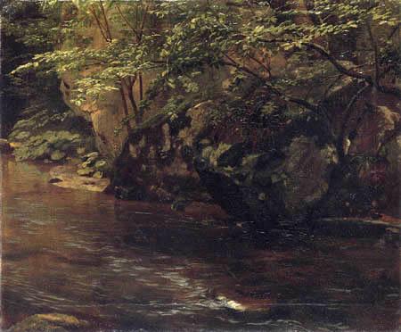 Johann Wilhelm Schirmer - Rocks and bushes to the Duessel