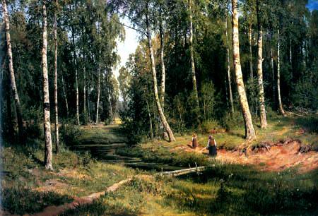 Iwan Schischkin - Un ruisseau dans le bois de bouleaux