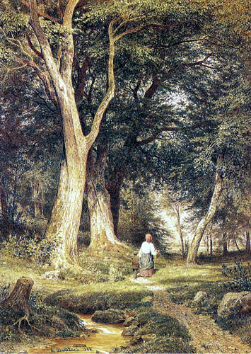 Iwan Schischkin - Woman and boy in the forest