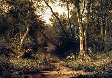 Iwan Schischkin - Forest landscape with herons