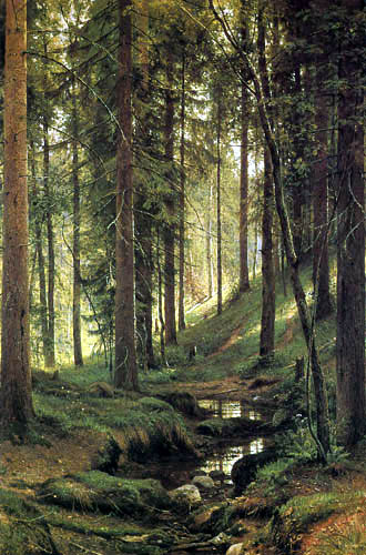 Iwan Schischkin - Forest brook at a slope