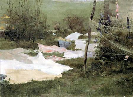 Helene Schjerfbeck - Drying Laundry