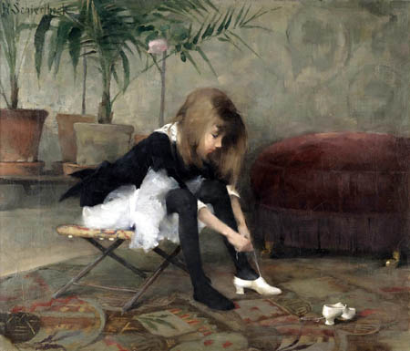 Helene Schjerfbeck - Young Girl is Putting on her Dancing Shoes
