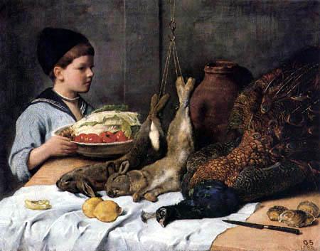 Otto Scholderer - Ein Knabe mit Gemüseschüssel