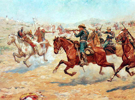 Charles Schreyvogel - A Sharp Encounter