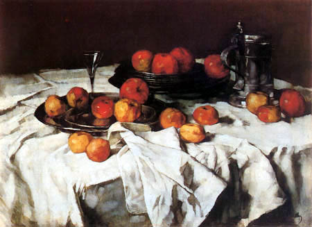 Carl Schuch - Still life with jug and apples