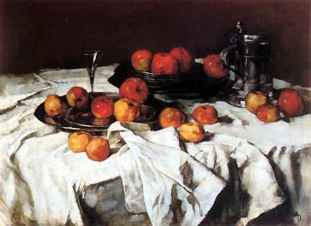 Carl Schuch - Apfelstilleben mit Weinglas und Zinnkrug