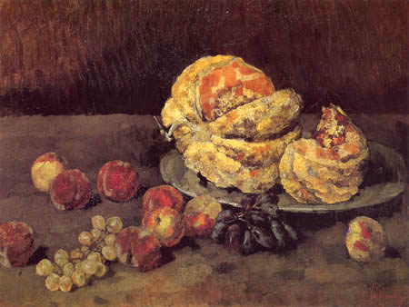Carl Schuch - Melons, peaches and bunch of grapes