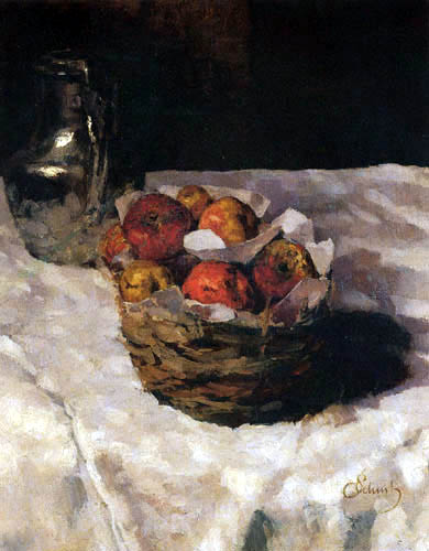 Carl Schuch - Still life with jug and apple basket