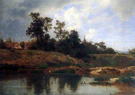 Carl Schweich - A village at a pond