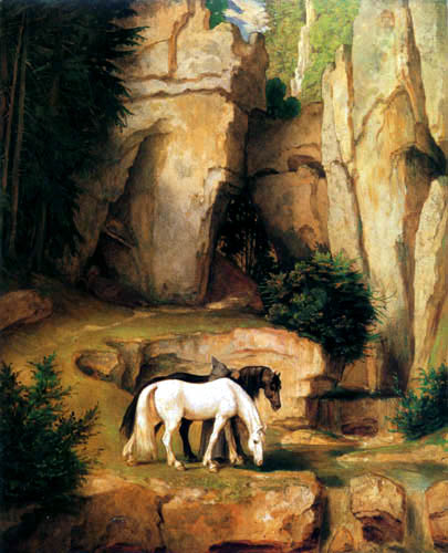 Moritz von Schwind - Zwei Pferde an der Tränke