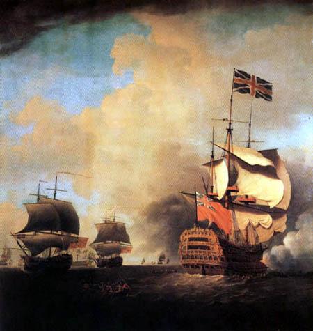 Samuel Scott - A First-rate Shortening Sails