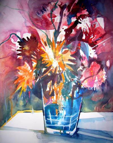 Rainer Sebald - Dahlien in blauer Vase