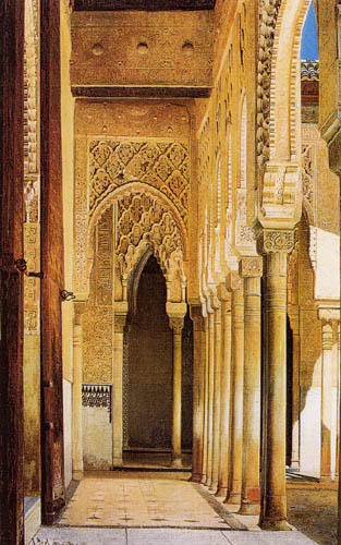 Adolf Seel - The colonnade in the Court of the Lions, Granada