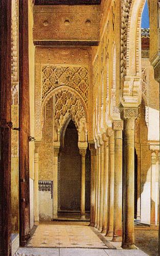 Adolf Seel - Die Kolonnade des Löwenhofs, Granada