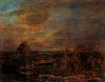 Giovanni Segantini - Landschaft in Abenddämmerung
