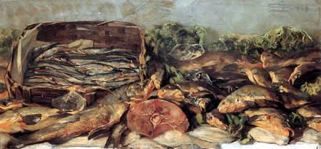 Giovanni Segantini - Stillleben mit Fischen