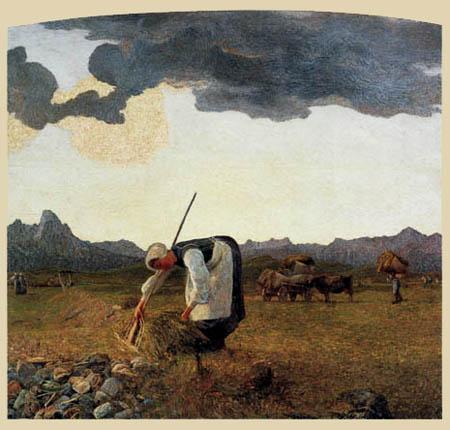 Giovanni Segantini - Bei der Heuernte