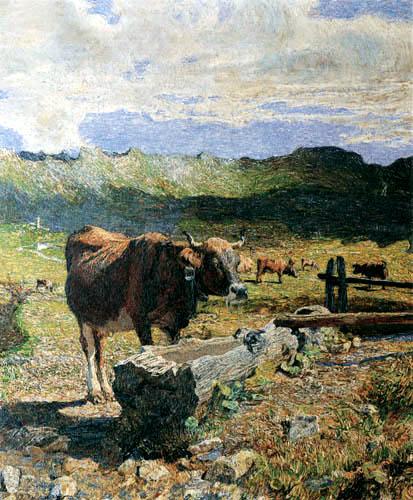 Giovanni Segantini - Eine Kuh an der Tränke - Vacca bruna all´abbeveratoio