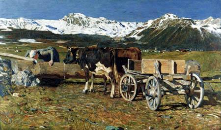 Giovanni Segantini - Cows at the water trough