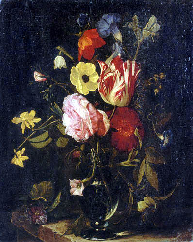 Daniel Seghers - Flowers in a glass vase