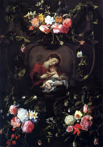 Daniel Seghers - Garland of Flowers with Maria and Child