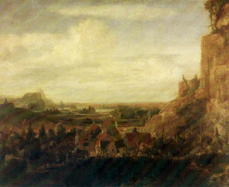 Hercules Pietersz. Seghers - River valley with houses