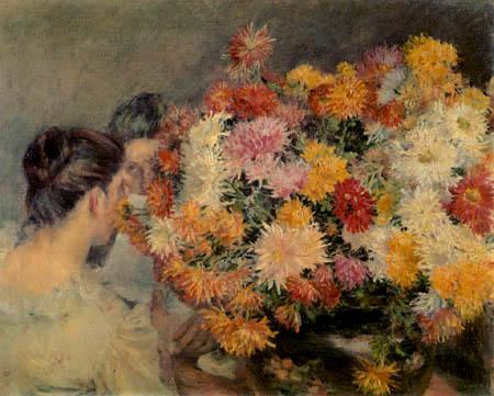 Kuroda Seiki - Damen mit Chrysanthemen