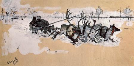 Valentin Alexandrowitsch Serow - Im Renntierschlitten in der Tundra