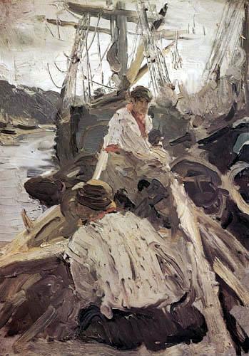 Valentin Alexandrowitsch Serow - Fischer im Boot, Pomoren