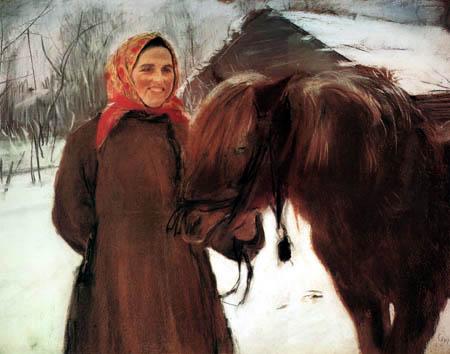 Valentin Alexandrowitsch Serow - Bäuerin mit Pferd im Dorf