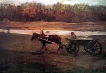 Valentin Alexandrowitsch Serow - Bäuerin im Fuhrwagen