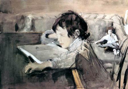 Valentin Alexandrowitsch Serow - Der junge Sascha Serow beim Lesen