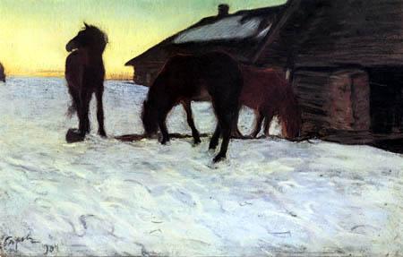 Valentin Alexandrowitsch Serow - Pferde an einer Tränke in Domatkanowo