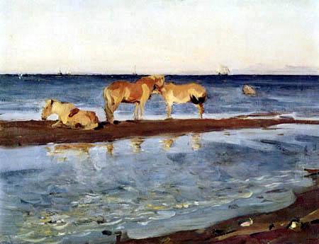 Valentin Alexandrowitsch Serow - Pferde auf einer Sandbank am Meer
