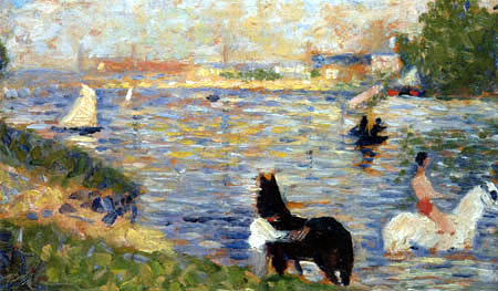 Georges-Pierre Seurat - A white and a black horse