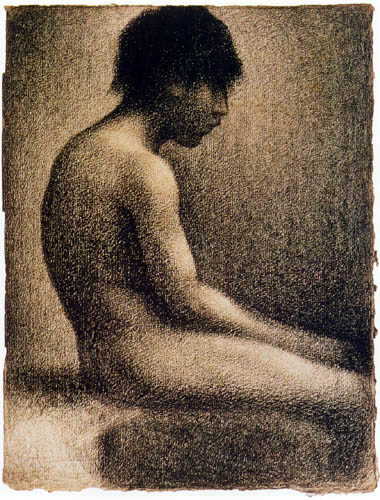 Georges-Pierre Seurat - Nude, study with a boy sitting
