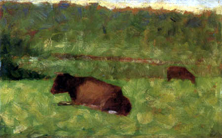 Georges-Pierre Seurat - Cows on the pasture