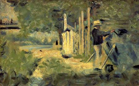 Georges-Pierre Seurat - A man paints a boat