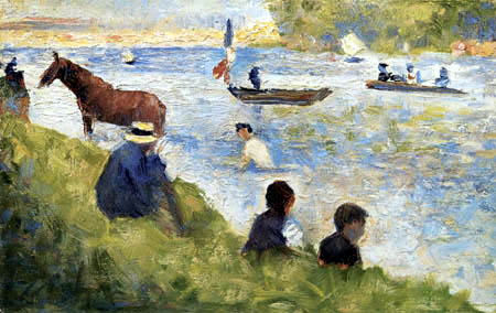 Georges-Pierre Seurat - Horse and boats