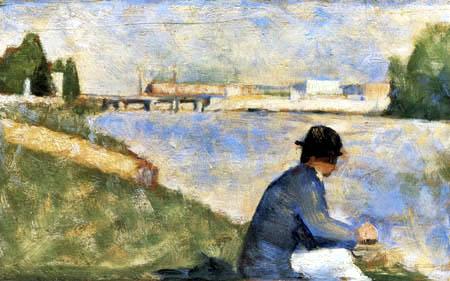 Georges-Pierre Seurat - Seine Riverbank, Surenes