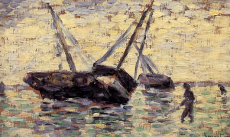 Georges-Pierre Seurat - Boats on low tide, Grandcamps